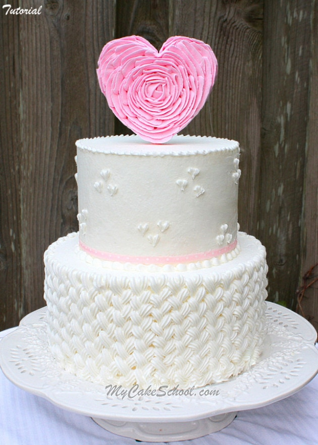 Learn how to pipe braided buttercream and how to make an elegant ruffled heart cake topper in this My Cake School member video tutorial! Perfect for Valentine's Day, anniversaries, and more!