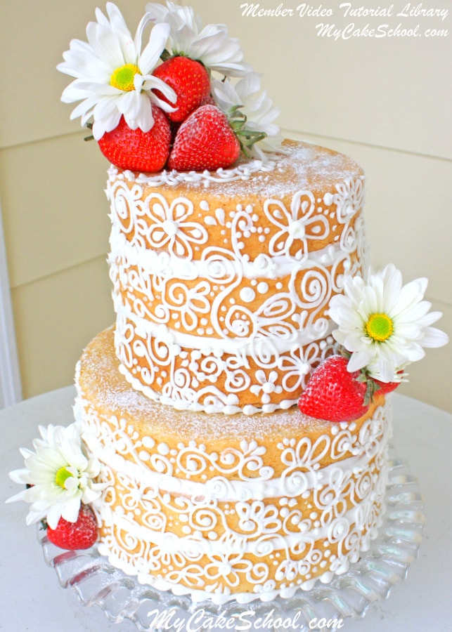 "Semi-Dressed Elegance~ An elegant ""Naked"" cake from My Cake School's video library"