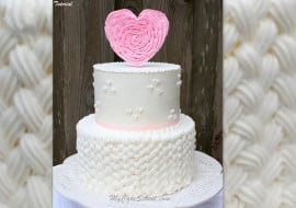 How to Pipe Braided Buttercream & Ruffled Heart Cake Topper! A My Cake School video tutorial.