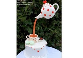 Tea Party Cake with Suspended Teapot Decoration! A gravity defying cake video from MyCakeSchool.com!