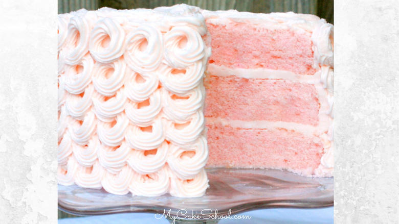 Pink Champagne Cake Recipe from scratch! This cake has amazing flavor and has a sophisticated feel! Perfect for all sorts of special occasions!