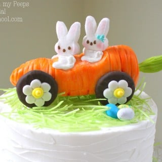 Carrot Car with Peeps Bunnies! Cake Topper Tutorial by MyCakeSchool.com! So adorable for Easter cakes!