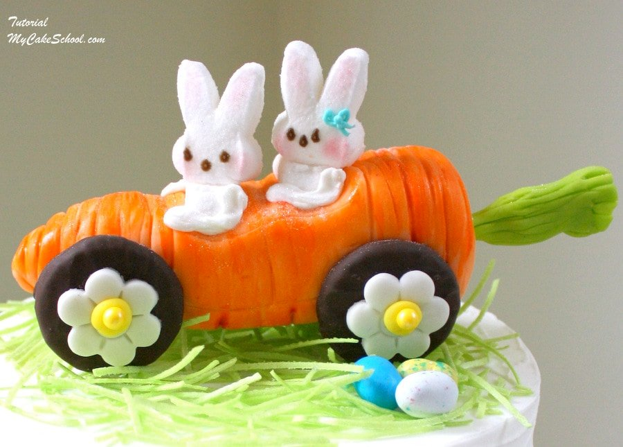 Rollin' with my PEEPS~ Carrot Car topper tutorial by MyCakeSchool.com