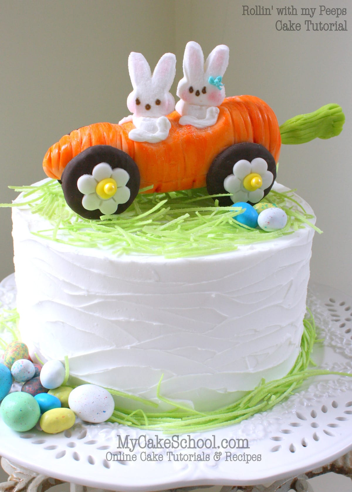 Rollin' with my Peeps! ADORABLE bunny and carrot car cake topper! Free tutorial by MyCakeSchool.com! Perfect for Easter cakes!