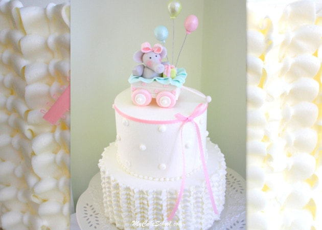 CUTE Elephant and Wagon Baby Shower Cake Tutorial with Ruffled Buttercream! A Video by My Cake School!