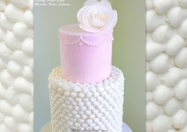Elegant, Vintage Pearl Cake in Buttercream! You will love this lovely cake with piped buttercream and wafer paper flower!
