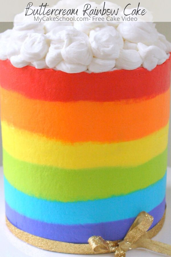 Learn how to cream a Buttercream Rainbow Cake