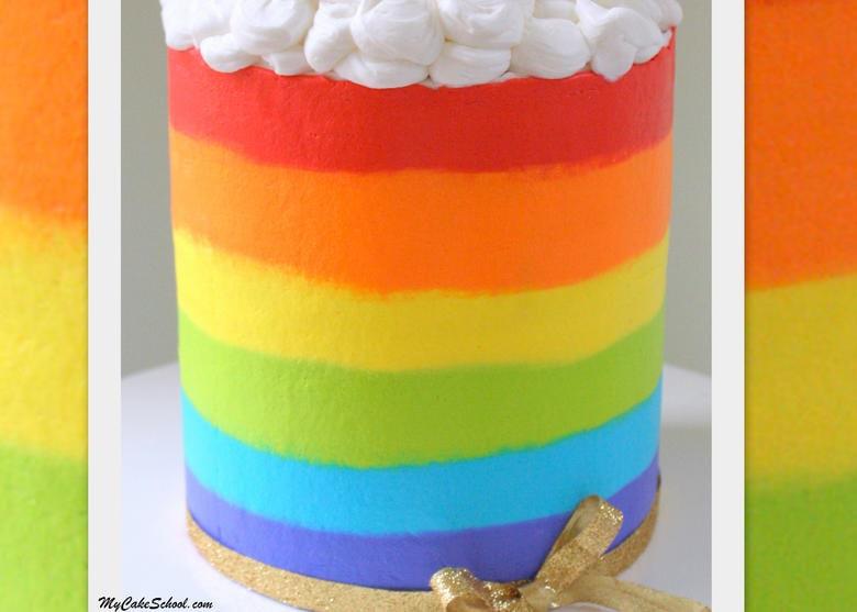 Free Buttercream Rainbow Cake Video Tutorial by MyCakeSchool.com!