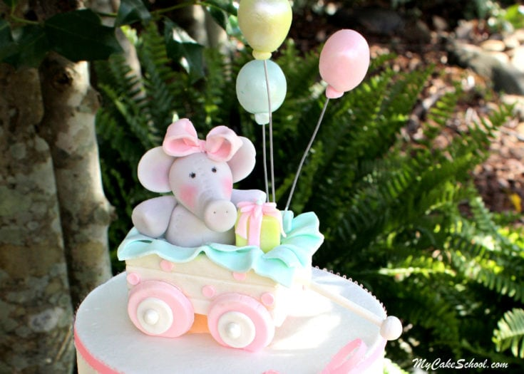 Elephant and Wagon Cake with Buttercream Ruffles!- Video