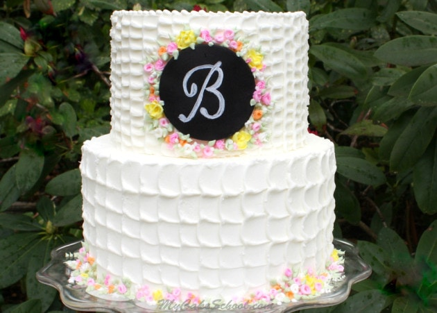 Learn to create elegant textured buttercream with a fondant chalkboard plaque! My Cake School Video Tutorial.
