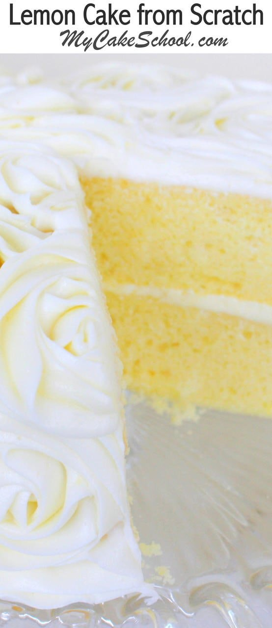 Moist and Delicious Lemon Cake Recipe from Scratch! Heavenly with Lemon Curd Filling and Lemon Cream Cheese Frosting! MyCakeSchool.com