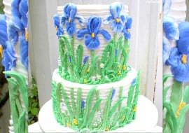 Beautiful Piped Buttercream Iris Cake! Video Tutorial by MyCakeSchool.com.
