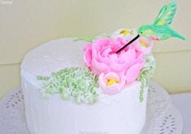 Hummingbird Cake Tutorial with Fluffy Frosting Flowers!  Video Tutorial by MyCakeSchool.com!
