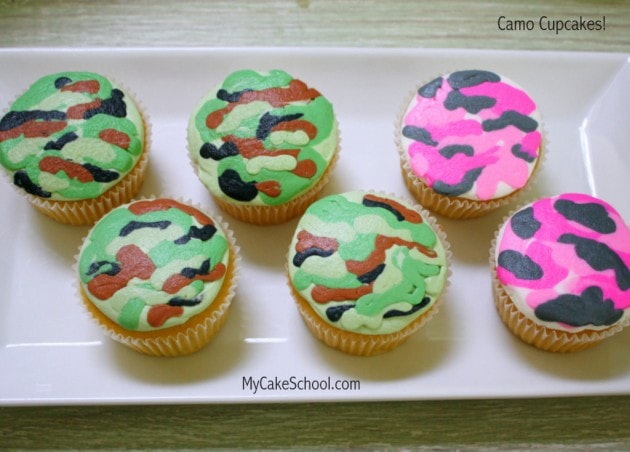 Learn to make camouflage cupcakes in this free cake decorating minute video tutorial by MyCakeSchool.com! Online Cake Tutorials, videos, and recipes!