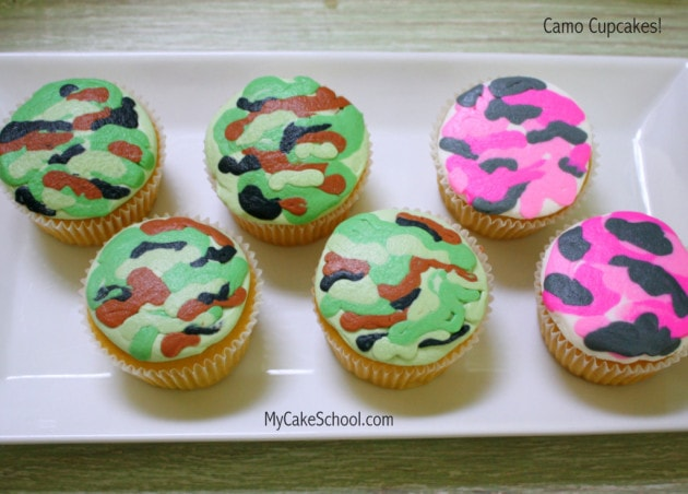 Camo Cupakes! Minute Video Tutorial- MyCakeSchool.com