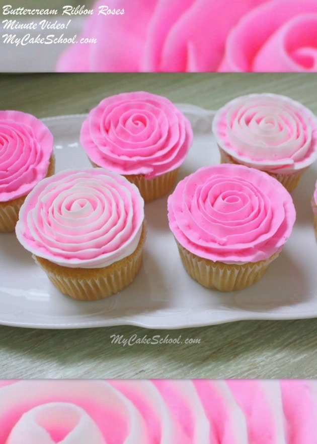 Learn to pipe beautiful buttercream ribbon roses onto cupcakes in this quick MyCakeSchool.com free cake video!