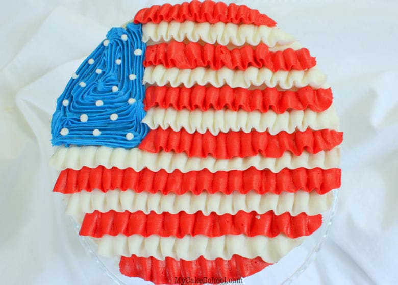Ruffled Buttercream Flag Cake Tutorial- Perfect for Patriotic Holidays and events!