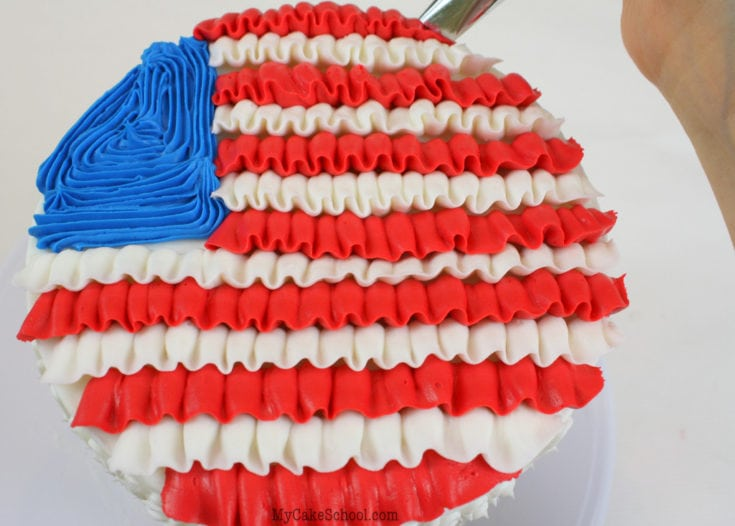 Ruffled Buttercream Flag Cake Tutorial-Perfect for July Fourth, Memorial Day, Veterans Day, and more!