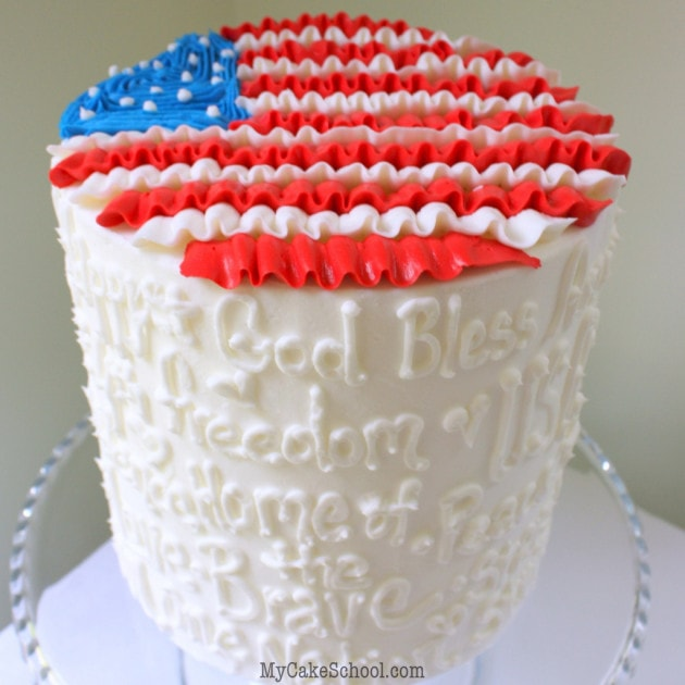 Ruffled Flag Cake for July Fourth! Free cake decorating tutorial by MyCakeSchool.com!