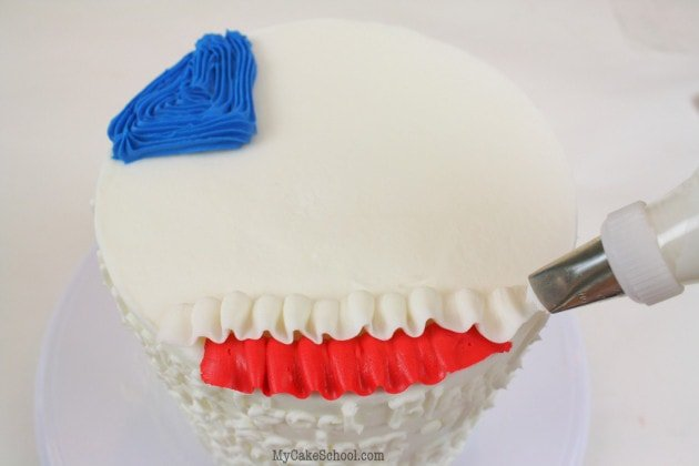 Easy July 4th Ruffled Flag Cake Tutorial by MyCakeSchool.com!