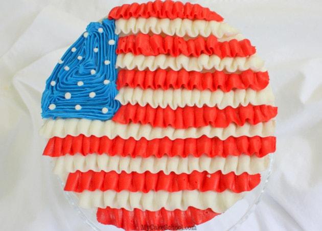 July 4 -Ruffled Flag Cake Tutorial by MyCakeSchool.com!