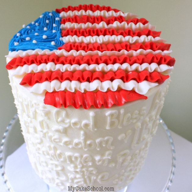 Free July 4th Ruffled Buttercream Flag Cake Tutorial by MyCakeSchool.com! Perfect for the Fourth of July!