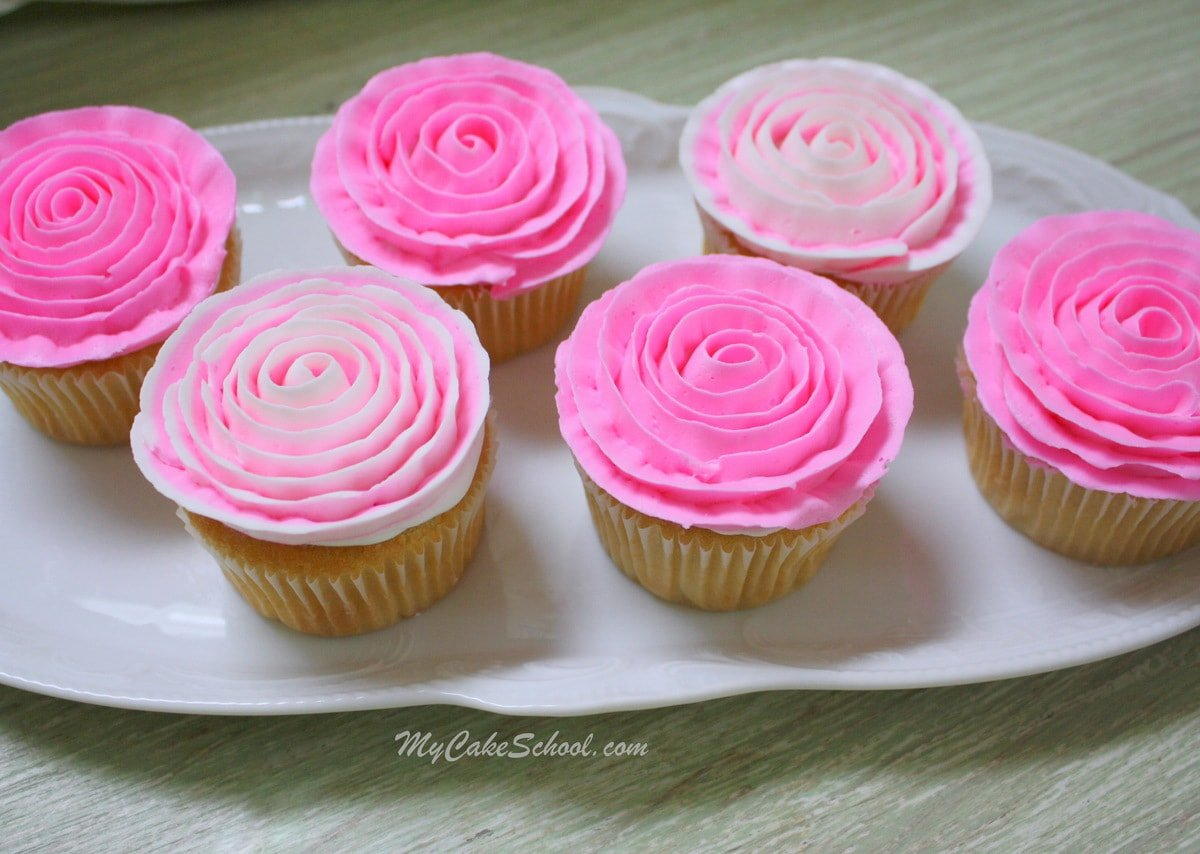 Learn how to make beautiful buttercream ribbon rose cupcakes in this FREE Cake Video by MyCakeSchool.com