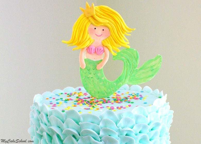 Sweet Mermaid Cake Topper Video Tutorial with Buttercream Waves! Online Cake Tutorials and Recipes! MyCakeSchool.com