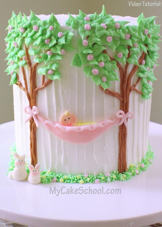 Sweet Baby in a Hammock- Free Cake Video tutorial by MyCakeSchool.com!