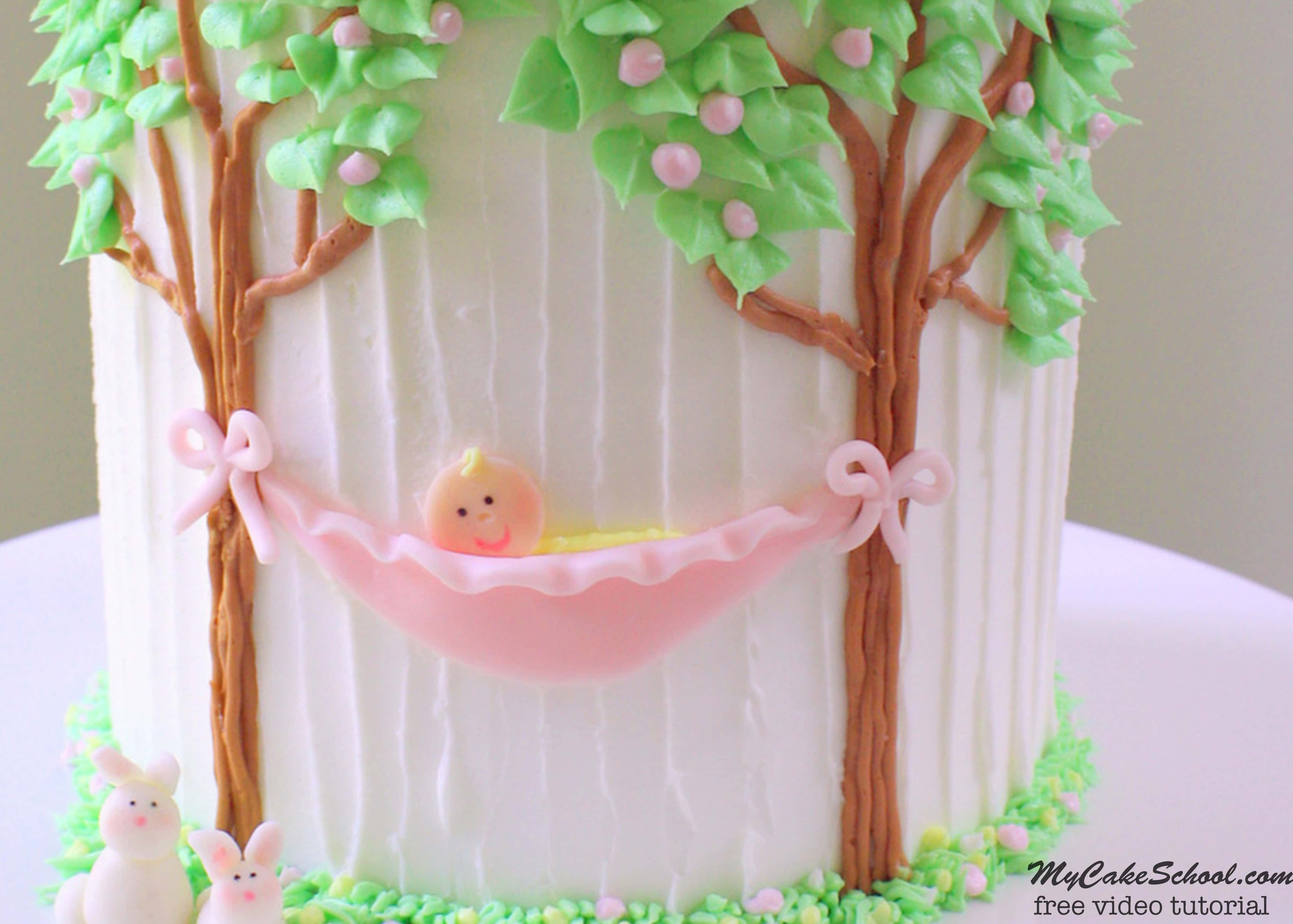 Sweet Baby in a Hammock Cake Decorating Video Tutorial by MyCakeSchool.com. Simple and sweet design PERFECT for Baby Shower Cakes! Free video!