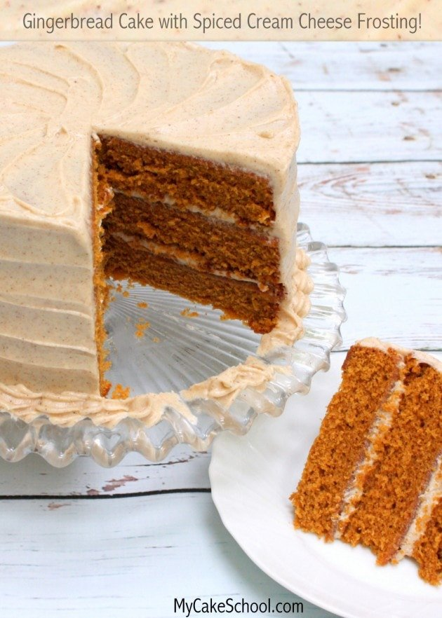 Delicious Scratch Gingerbread Cake Recipe with an amazing Spiced Cream Cheese Frosting by MyCakeSchool.com
