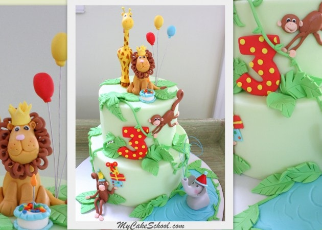Learn to make an adorable jungle cake! Member Cake Video Tutorial on MyCakeSchool.com!