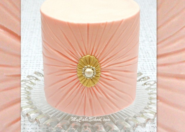Elegant Ruched Buttercream Cake Video Tutorial by MyCakeSchool.com. Online cake video tutorial.