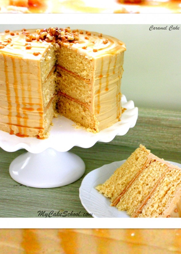 Delicious Caramel Cake Recipe with Caramel Frosting by MyCakeSchool.com!