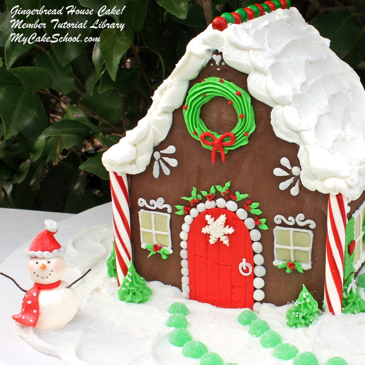 Adorable Gingerbread House Cake Video Tutorial by MyCakeSchool.com! Online cake tutorials, recipes, videos, and more!
