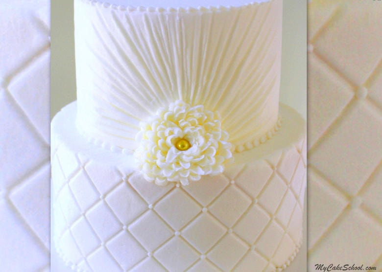 Elegant Quilted Buttercream Cake Video Tutorial by MyCakeSchool.com. Online Cake Decorating Video Tutorials, Cake Recipes, Step by Step Blog Tutorials, and more!