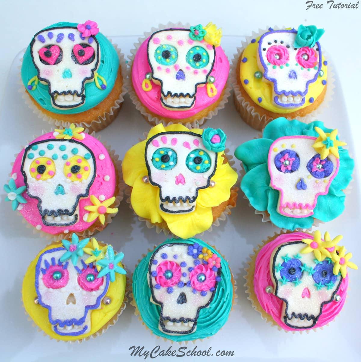 El Dia de los Muertos- Cupcake Tutorial by MyCakeSchool.com!
