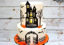 Learn to make a Haunted House Cake in this member cake video tutorial by MyCakeSchool.com! Perfect for Halloween Parties!
