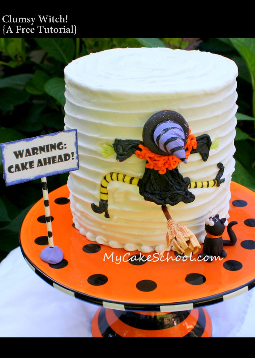 Clumsy Witch Cake! A free tutorial by MyCakeSchool.com