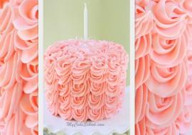 Lovely Cascading Rosettes of Buttercream~ Member Cake Video by MyCakeSchool.com!