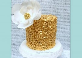 Elegant Sequined Cake with Wafer Paper Flower! MyCakeSchool.com Video Tutorial!
