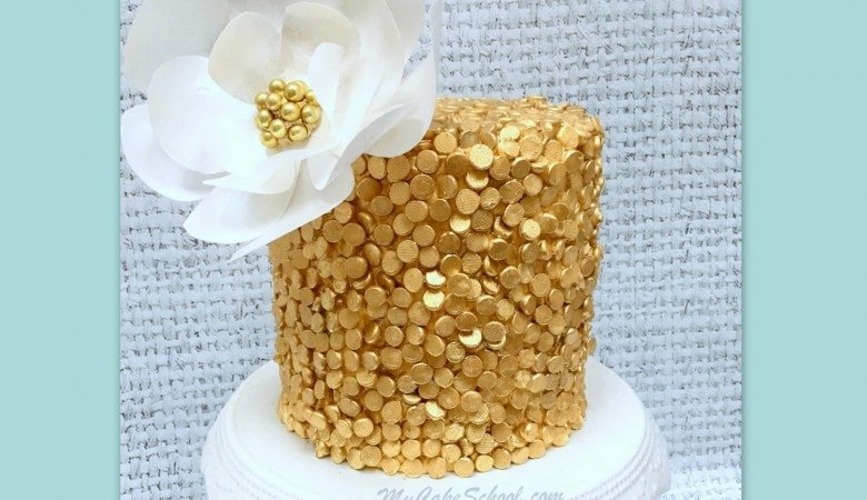 Gold Sequin Cake with Wafer Paper Flower- A Video Tutorial