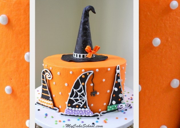 Halloween Witch Hat Cake Tutorial by MyCakeSchool.com! Free Tutorial, and PERFECT for Halloween parties!