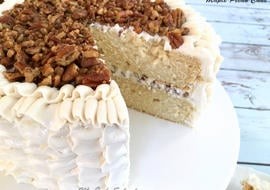 This delicious Maple Pecan Cake from scratch is perfect for fall! MyCakeSchool.com!