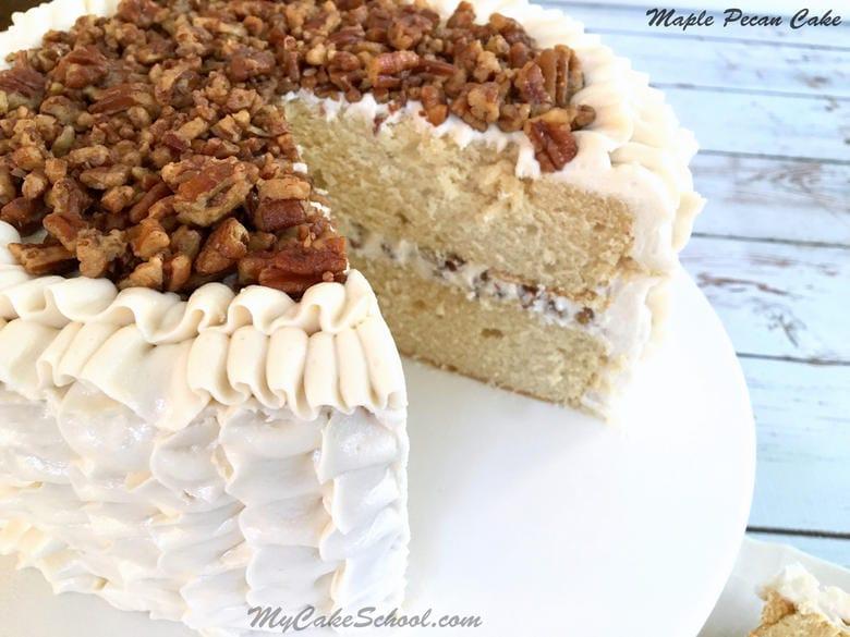 Maple Pecan Cake with Maple Buttercream {A Scratch Recipe}