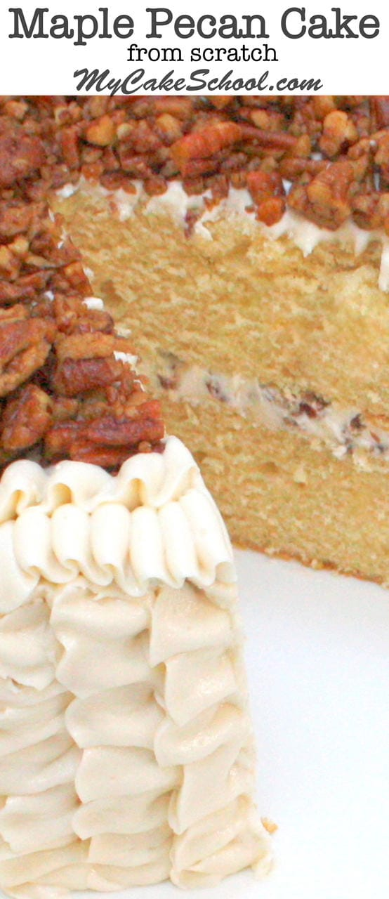 Moist and Delicious Maple Pecan Cake with Maple Buttercream Frosting! Recipe by MyCakeSchool.com.
