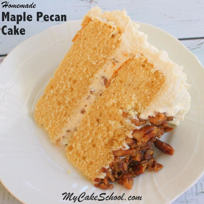 Delicious Maple Pecan Cake recipe! Super moist and flavorful! by MyCakeSchool.com.