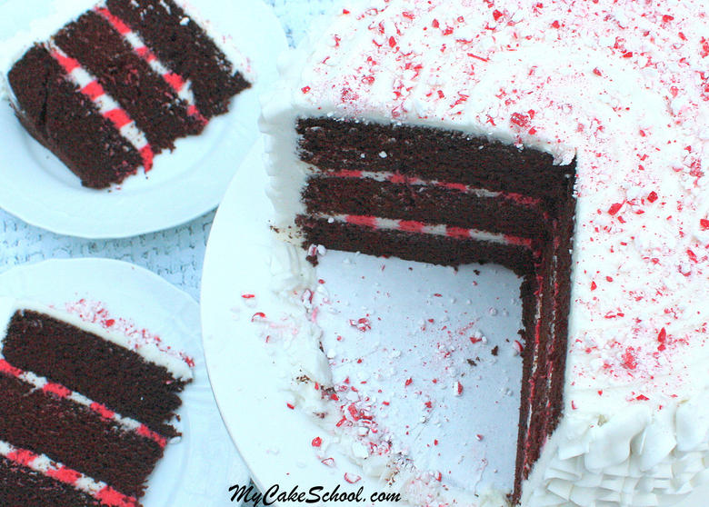 Candy Cane Cake Recipe and Free Video by My Cake School! Learn to make a buttercream striped filling! This cake is PERFECT for the holidays and so simple to make!