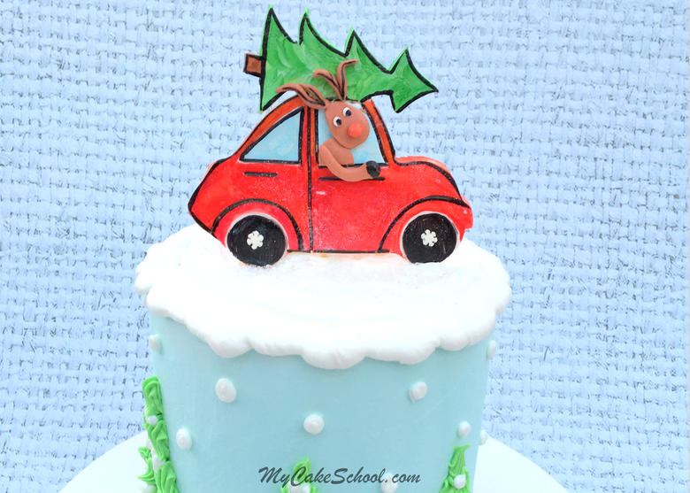 Sweet Rudolph & Car Cake Topper! An adorable cake design for Christmas Parties! Cake Video by MyCakeSchool.com!