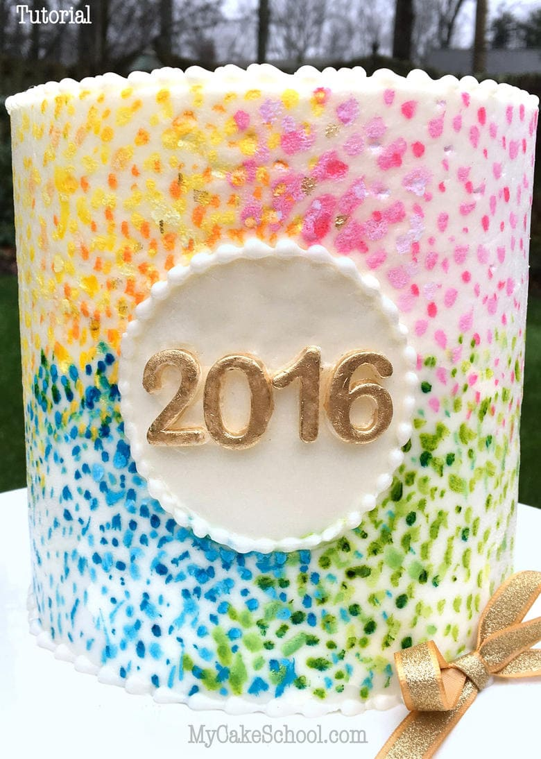 Happy 2016! Fun design & Quick free cake video tutorial by My Cake School!